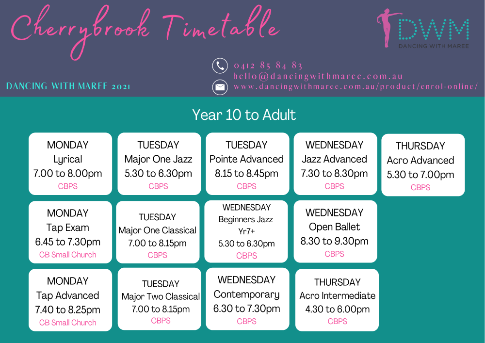 Dancing with Maree 2021 dance timetable Cherrybrook Sydney yr10-adult