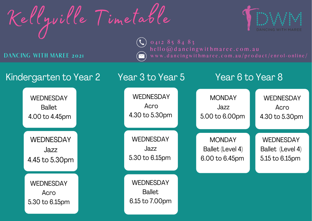 Dancing With Maree 2021 timetable NSW 2021 DWM timetable-Kellyville NSW-K-2- yr3-5 - yr6-8