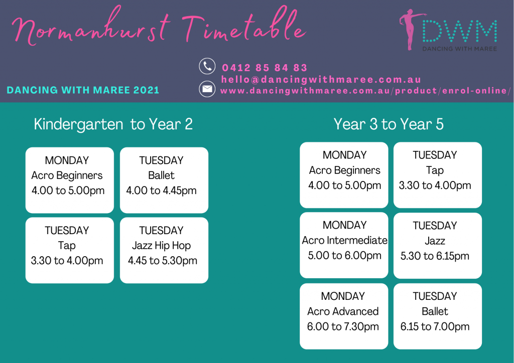 Dancing With Maree 2021 Normanhurst timetable k-2 and yr3-5